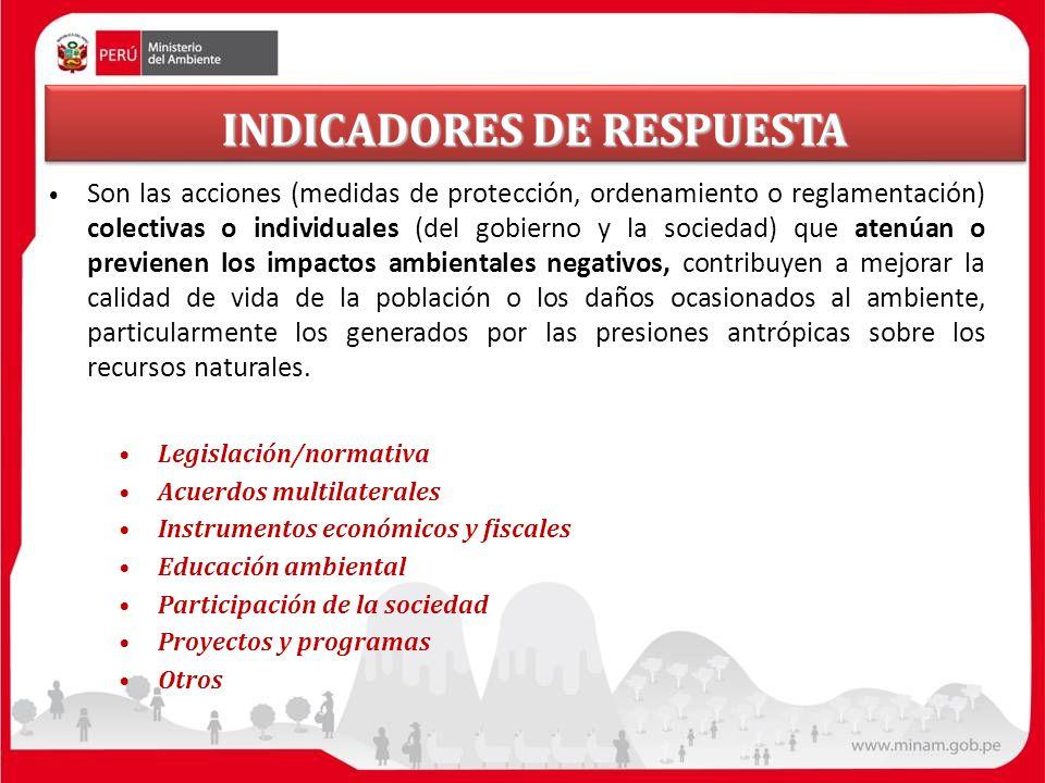 INDICADORES DE RESPUESTA Son las acciones (medidas de protección, ordenamiento o reglamentación) colectivas o individuales (del gobierno y la sociedad