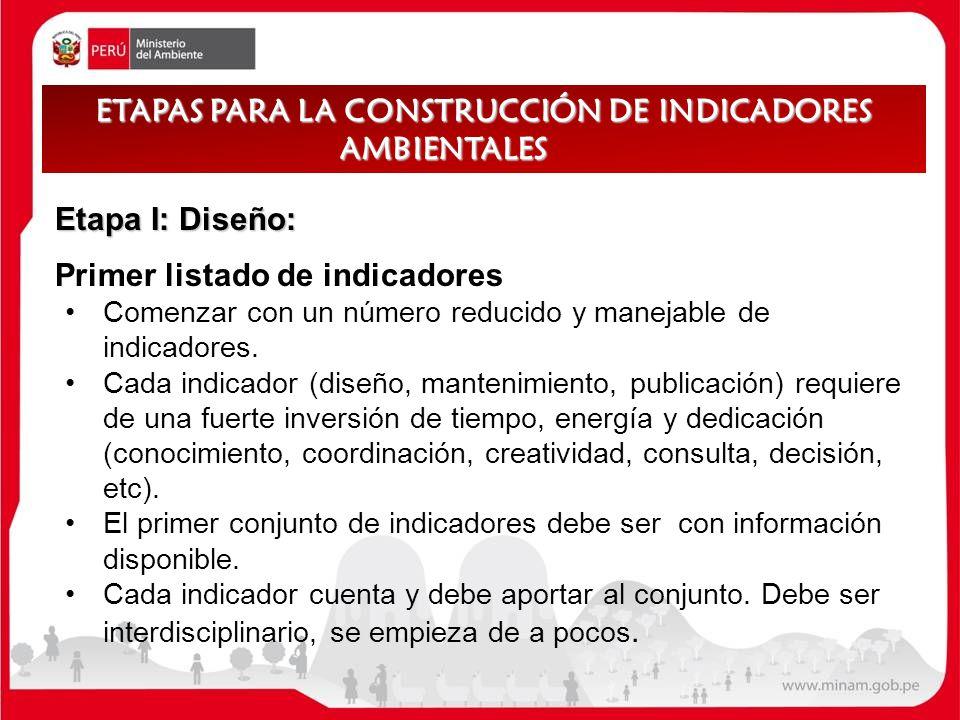 Etapa I: Diseño: Primer listado de indicadores Comenzar con un número reducido y manejable de indicadores. Cada indicador (diseño, mantenimiento, publ