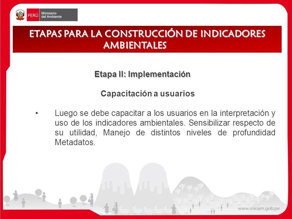 Etapa II: Implementación Capacitación a usuarios Luego se debe capacitar a los usuarios en la interpretación y uso de los indicadores ambientales. Sen