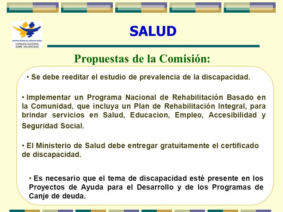 12 SALUD Propuestas de la Comisión: Se debe reeditar el estudio de prevalencia de la discapacidad. Implementar un Programa Nacional de Rehabilitación