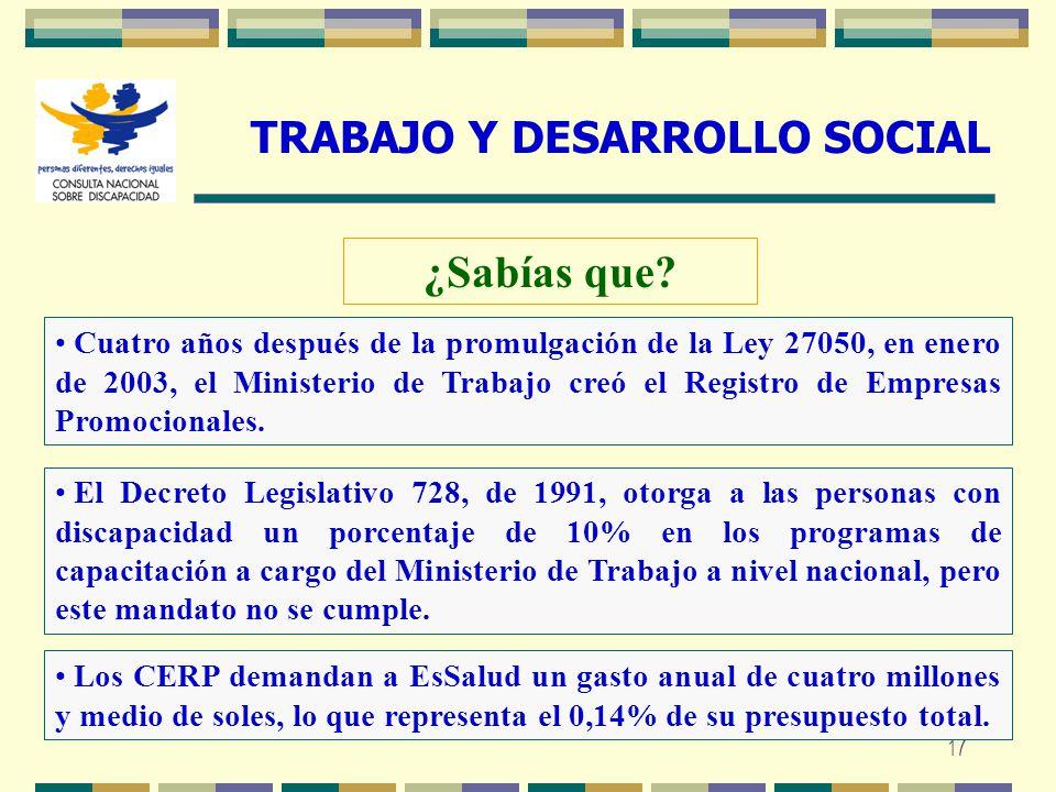 17 TRABAJO Y DESARROLLO SOCIAL ¿Sabías que? Cuatro años después de la promulgación de la Ley 27050, en enero de 2003, el Ministerio de Trabajo creó el