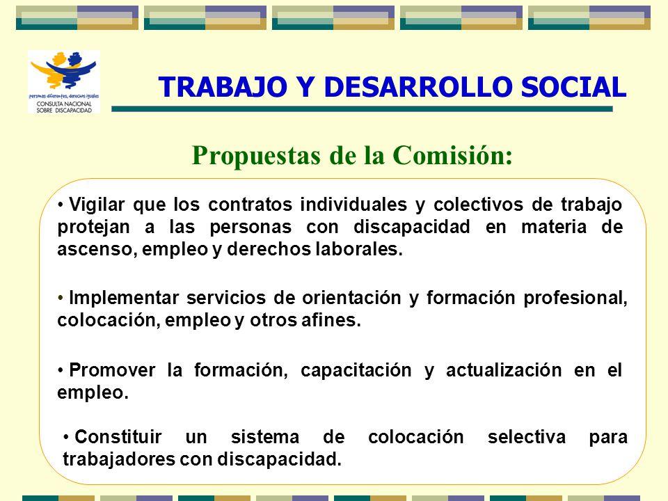 20 Propuestas de la Comisión: Implementar servicios de orientación y formación profesional, colocación, empleo y otros afines. Vigilar que los contrat