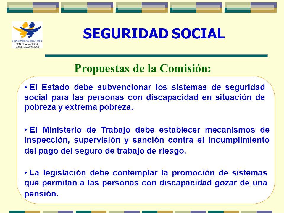 23 SEGURIDAD SOCIAL El Estado debe subvencionar los sistemas de seguridad social para las personas con discapacidad en situación de pobreza y extrema