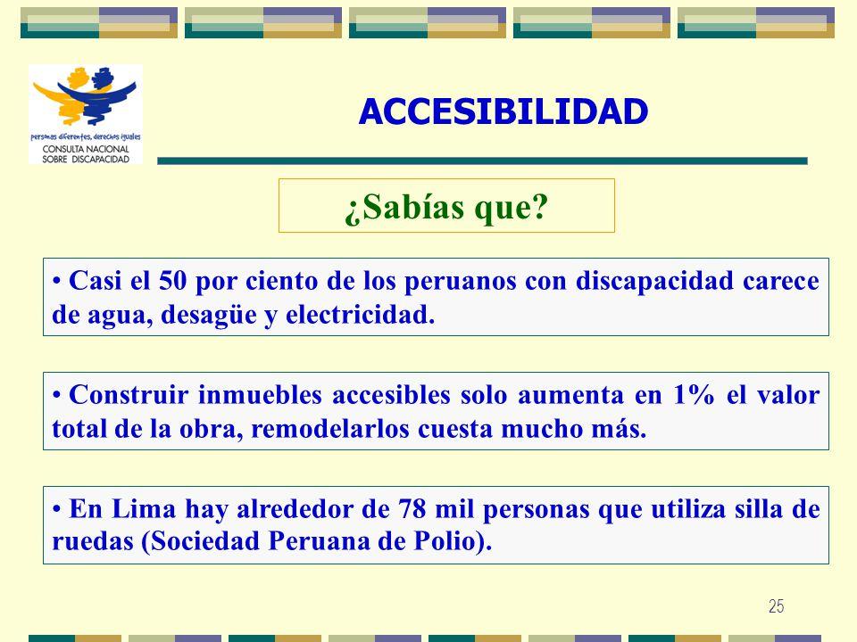 25 ACCESIBILIDAD ¿Sabías que? Construir inmuebles accesibles solo aumenta en 1% el valor total de la obra, remodelarlos cuesta mucho más. Casi el 50 p