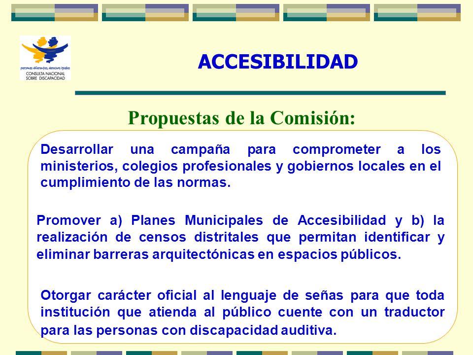 27 ACCESIBILIDAD Propuestas de la Comisión: Desarrollar una campaña para comprometer a los ministerios, colegios profesionales y gobiernos locales en