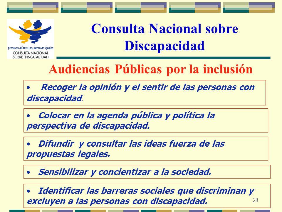28 Consulta Nacional sobre Discapacidad Audiencias Públicas por la inclusión Recoger la opinión y el sentir de las personas con discapacidad. Colocar