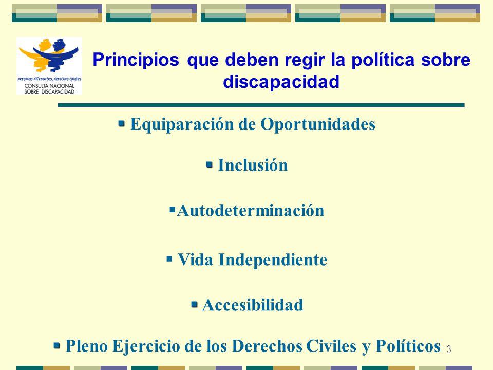 3 Principios que deben regir la política sobre discapacidad Equiparación de Oportunidades Inclusión Autodeterminación Accesibilidad Pleno Ejercicio de
