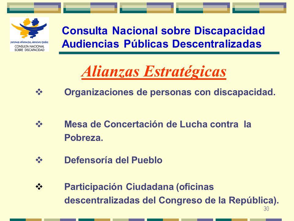 30 Consulta Nacional sobre Discapacidad Audiencias Públicas Descentralizadas Alianzas Estratégicas Organizaciones de personas con discapacidad. Mesa d
