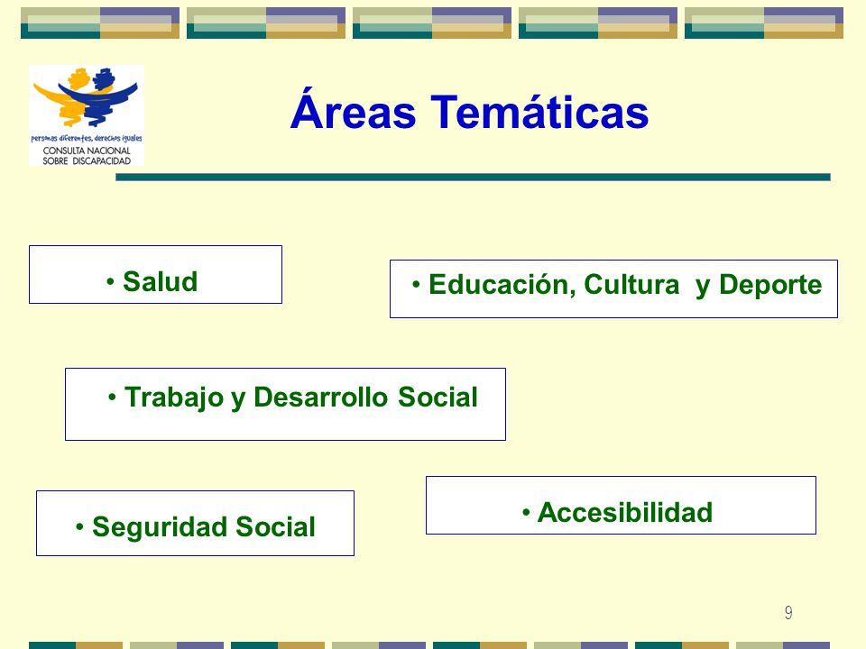 9 Áreas Temáticas Trabajo y Desarrollo Social Salud Educación, Cultura y Deporte Accesibilidad Seguridad Social