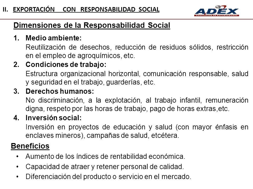 Dimensiones de la Responsabilidad Social 1.Medio ambiente: Reutilización de desechos, reducción de residuos sólidos, restricción en el empleo de agroq
