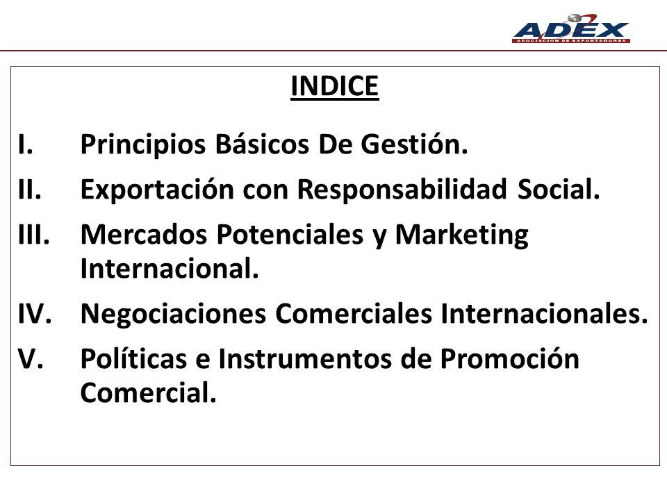 INDICE I.Principios Básicos De Gestión. II.Exportación con Responsabilidad Social. III.Mercados Potenciales y Marketing Internacional. IV.Negociacione