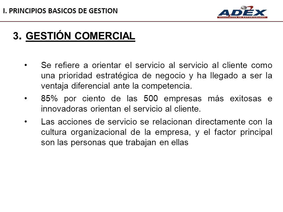 3. GESTIÓN COMERCIAL Se refiere a orientar el servicio al servicio al cliente como una prioridad estratégica de negocio y ha llegado a ser la ventaja