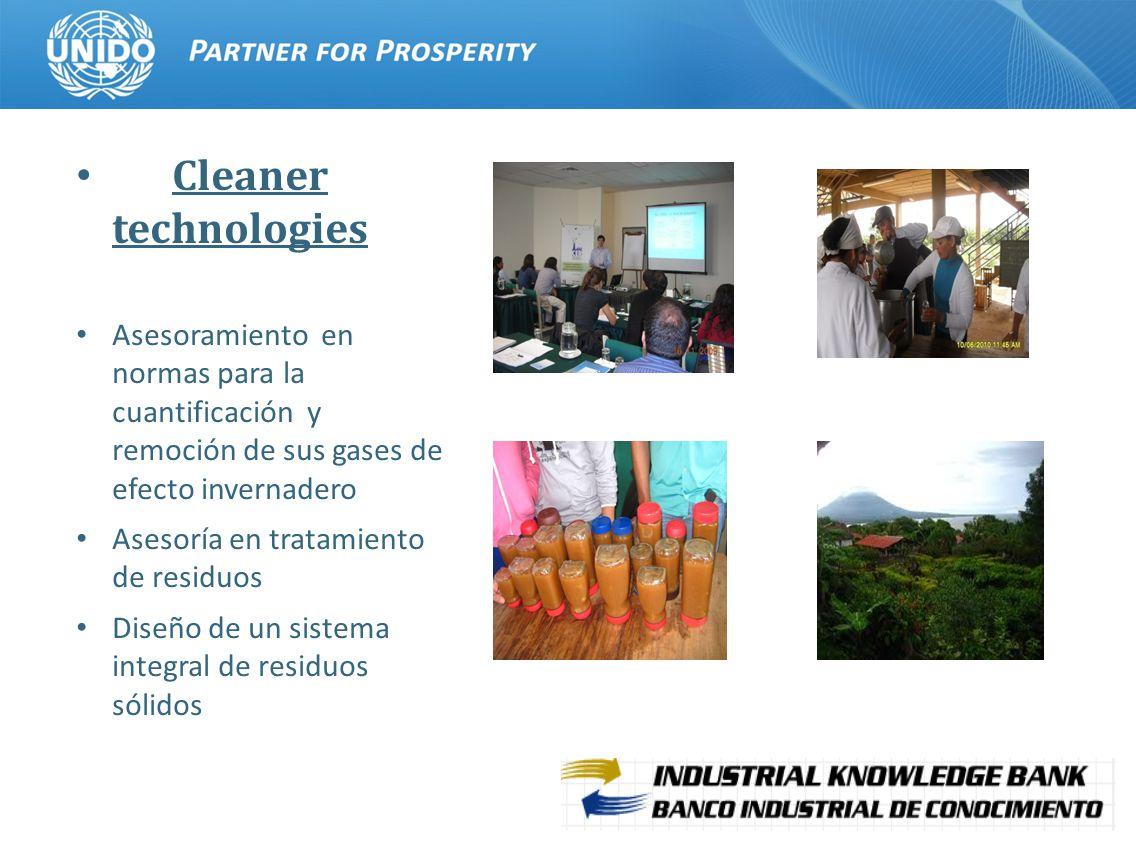 10 Cleaner technologies Asesoramiento en normas para la cuantificación y remoción de sus gases de efecto invernadero Asesoría en tratamiento de residuos Diseño de un sistema integral de residuos sólidos