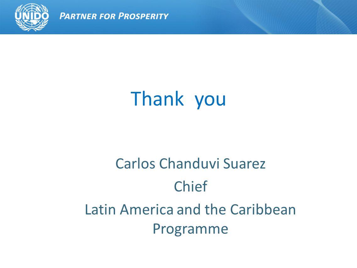 Thank you Carlos Chanduvi Suarez Chief Latin America and the Caribbean Programme
