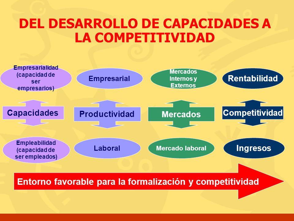 Productividad Competitividad Ingresos Empleabilidad (capacidad de ser empleados) Empresarialidad (capacidad de ser empresarios) Capacidades Empresaria