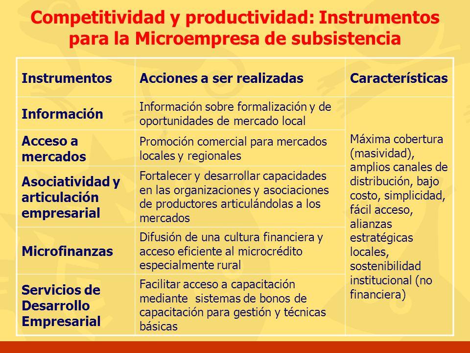 Competitividad y productividad: Instrumentos para la Microempresa de subsistencia InstrumentosAcciones a ser realizadasCaracterísticas Información Inf