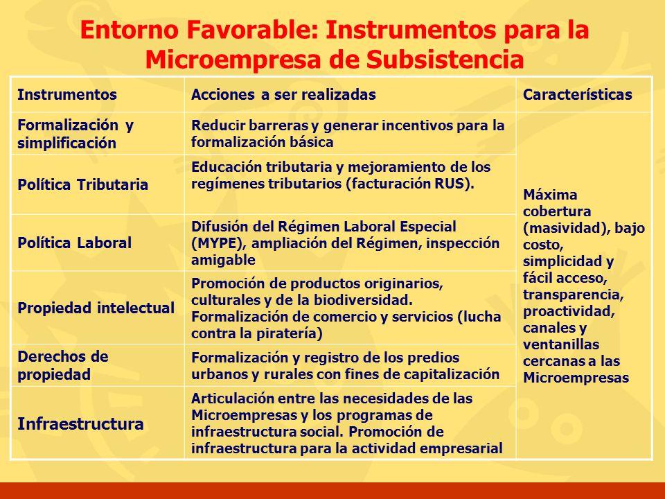 Entorno Favorable: Instrumentos para la Microempresa de Subsistencia InstrumentosAcciones a ser realizadasCaracterísticas Formalización y simplificaci