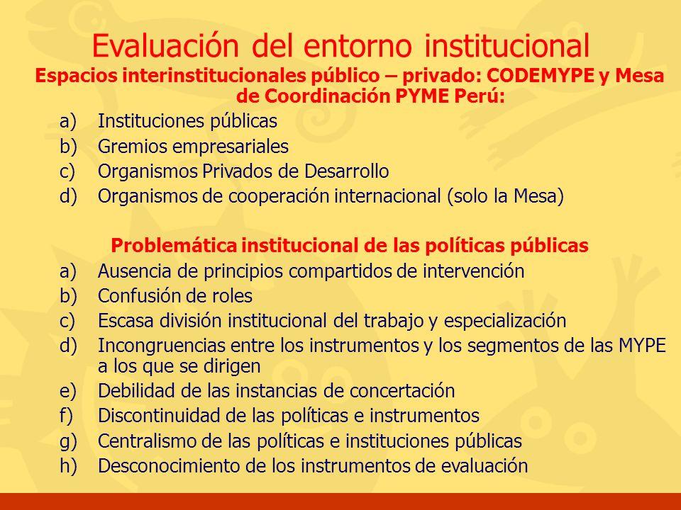 Evaluación del entorno institucional Espacios interinstitucionales público – privado: CODEMYPE y Mesa de Coordinación PYME Perú: a)Instituciones públi