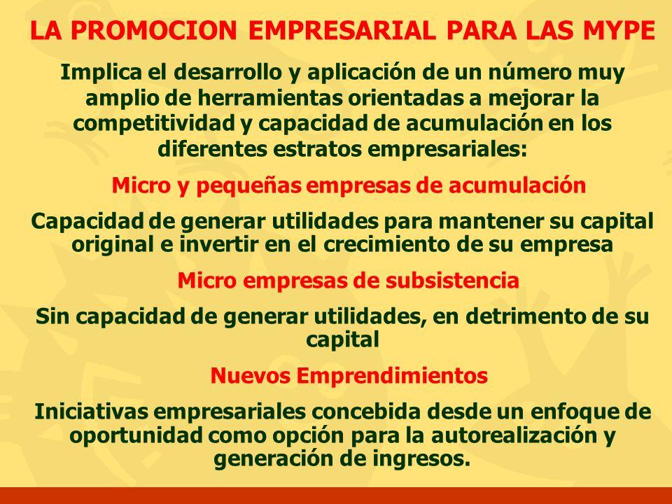LA PROMOCION EMPRESARIAL PARA LAS MYPE Implica el desarrollo y aplicación de un número muy amplio de herramientas orientadas a mejorar la competitivid