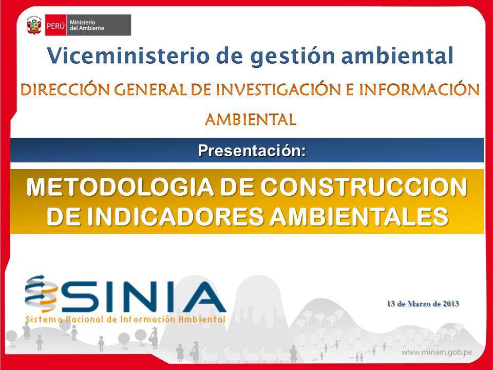 METODOLOGIA DE CONSTRUCCION DE INDICADORES AMBIENTALES Presentación: 13 de Marzo de 2013