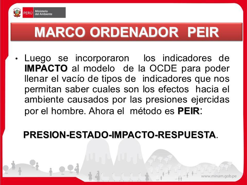MARCO ORDENADOR PEIR IMPACTO PEIR Luego se incorporaron los indicadores de IMPACTO al modelo de la OCDE para poder llenar el vacío de tipos de indicad