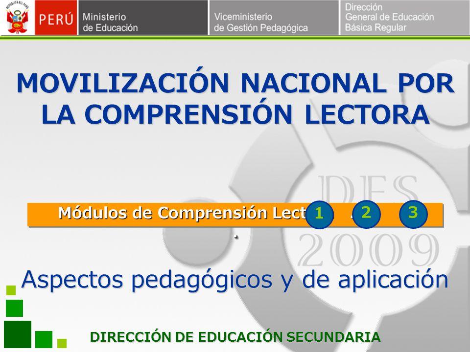 DIRECCIÓN DE EDUCACIÓN SECUNDARIA Módulos de Comprensión Lectora... 1 23 Aspectos pedagógicos y de aplicación MOVILIZACIÓN NACIONAL POR LA COMPRENSIÓN