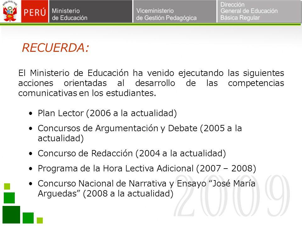 Plan Lector (2006 a la actualidad) Concursos de Argumentación y Debate (2005 a la actualidad) Concurso de Redacción (2004 a la actualidad) Programa de