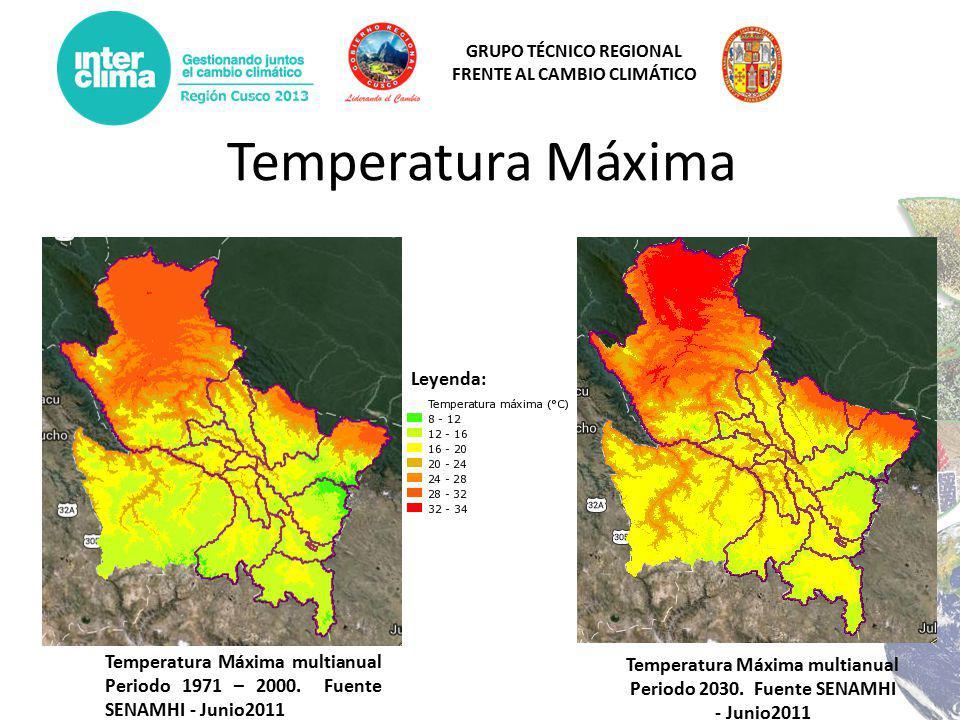 GRUPO TÉCNICO REGIONAL FRENTE AL CAMBIO CLIMÁTICO Temperatura Máxima Temperatura Máxima multianual Periodo 1971 – 2000.