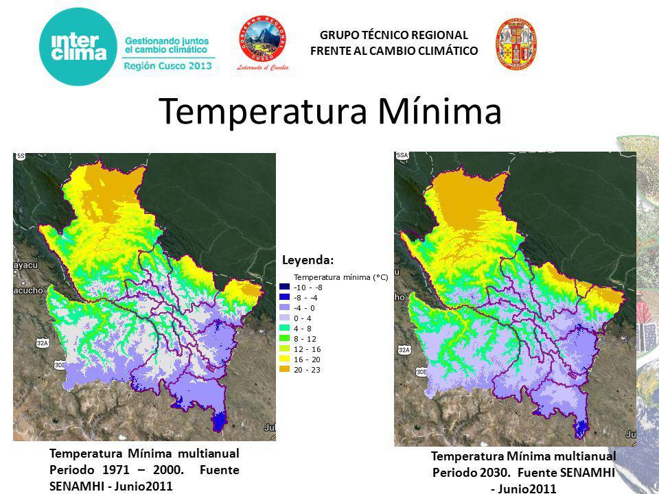 GRUPO TÉCNICO REGIONAL FRENTE AL CAMBIO CLIMÁTICO Temperatura Mínima Temperatura Mínima multianual Periodo 1971 – 2000.