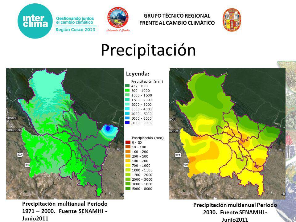 GRUPO TÉCNICO REGIONAL FRENTE AL CAMBIO CLIMÁTICO Precipitación Precipitación multianual Periodo 1971 – 2000.