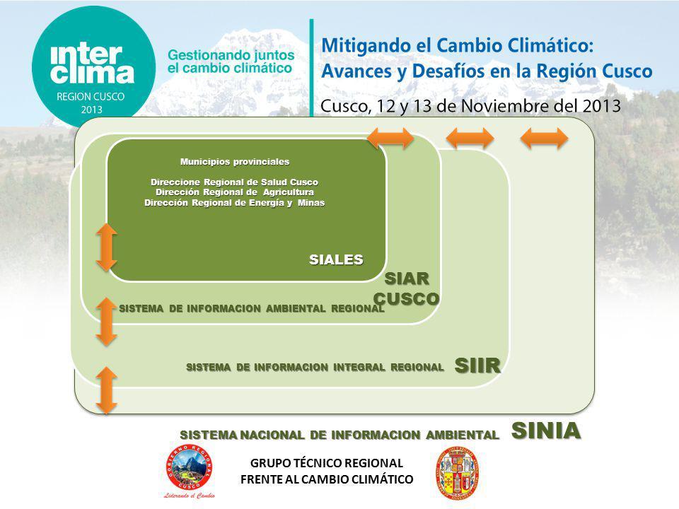 GRUPO TÉCNICO REGIONAL FRENTE AL CAMBIO CLIMÁTICO Mapas interactivos Integración Difusión Interconexión Estandarizada http://www.ccidep.gob.pe/normas_tecnicas Actualización Análisis