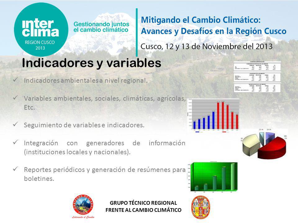 GRUPO TÉCNICO REGIONAL FRENTE AL CAMBIO CLIMÁTICO Indicadores y variables Indicadores ambientales a nivel regional.