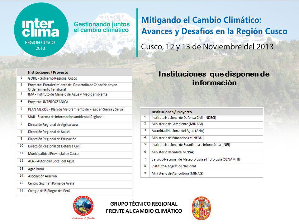 GRUPO TÉCNICO REGIONAL FRENTE AL CAMBIO CLIMÁTICO Instituciones que disponen de información