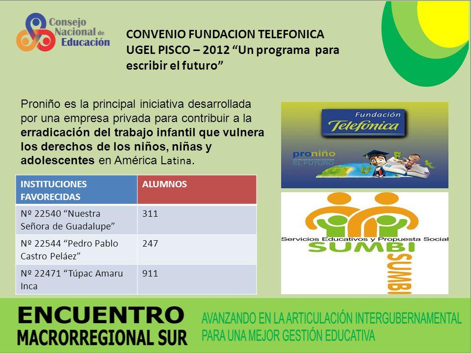 CONVENIO FUNDACION TELEFONICA UGEL PISCO – 2012 Un programa para escribir el futuro Proniño es la principal iniciativa desarrollada por una empresa pr