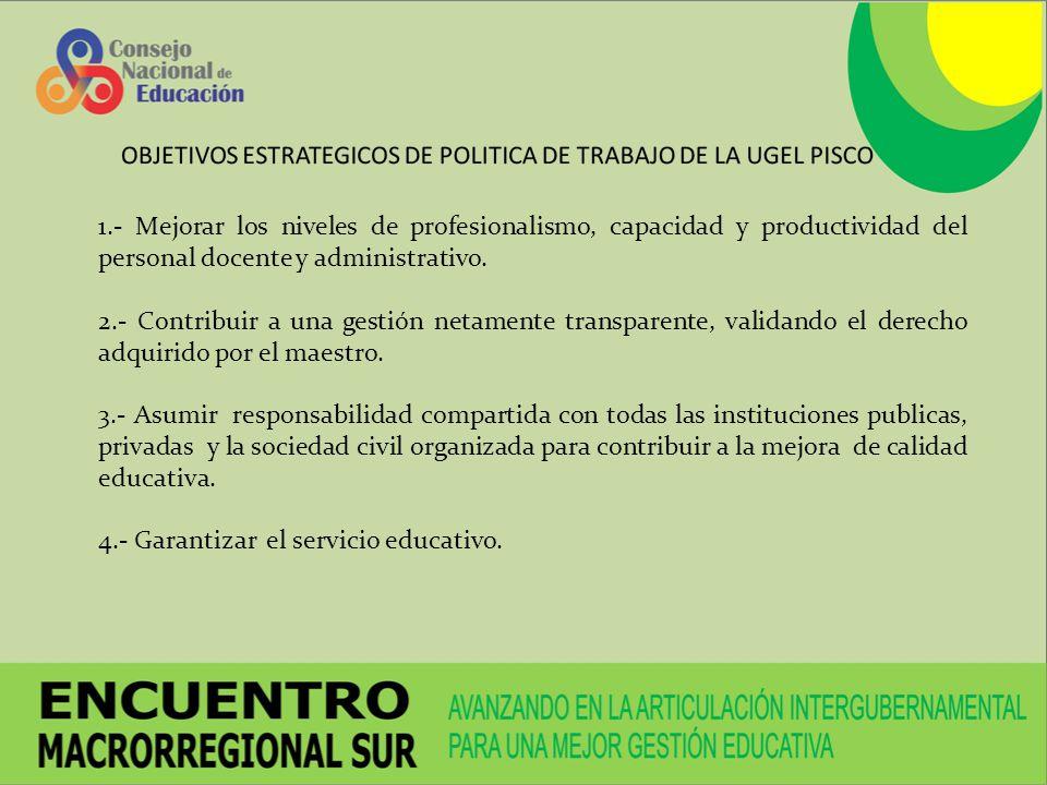 1.- Mejorar los niveles de profesionalismo, capacidad y productividad del personal docente y administrativo. 2.- Contribuir a una gestión netamente tr