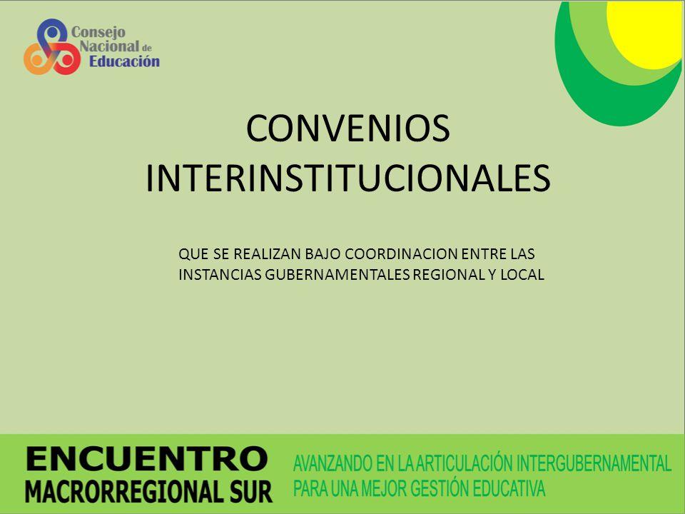 CONVENIOS INTERINSTITUCIONALES QUE SE REALIZAN BAJO COORDINACION ENTRE LAS INSTANCIAS GUBERNAMENTALES REGIONAL Y LOCAL