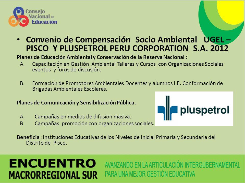 Convenio de Compensación Socio Ambiental UGEL – PISCO Y PLUSPETROL PERU CORPORATION S.A. 2012 Planes de Educación Ambiental y Conservación de la Reser