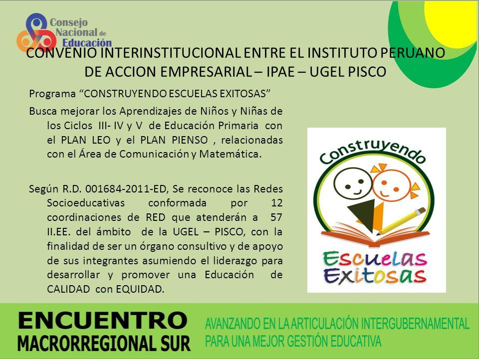 Programa CONSTRUYENDO ESCUELAS EXITOSAS Busca mejorar los Aprendizajes de Niños y Niñas de los Ciclos III- IV y V de Educación Primaria con el PLAN LE