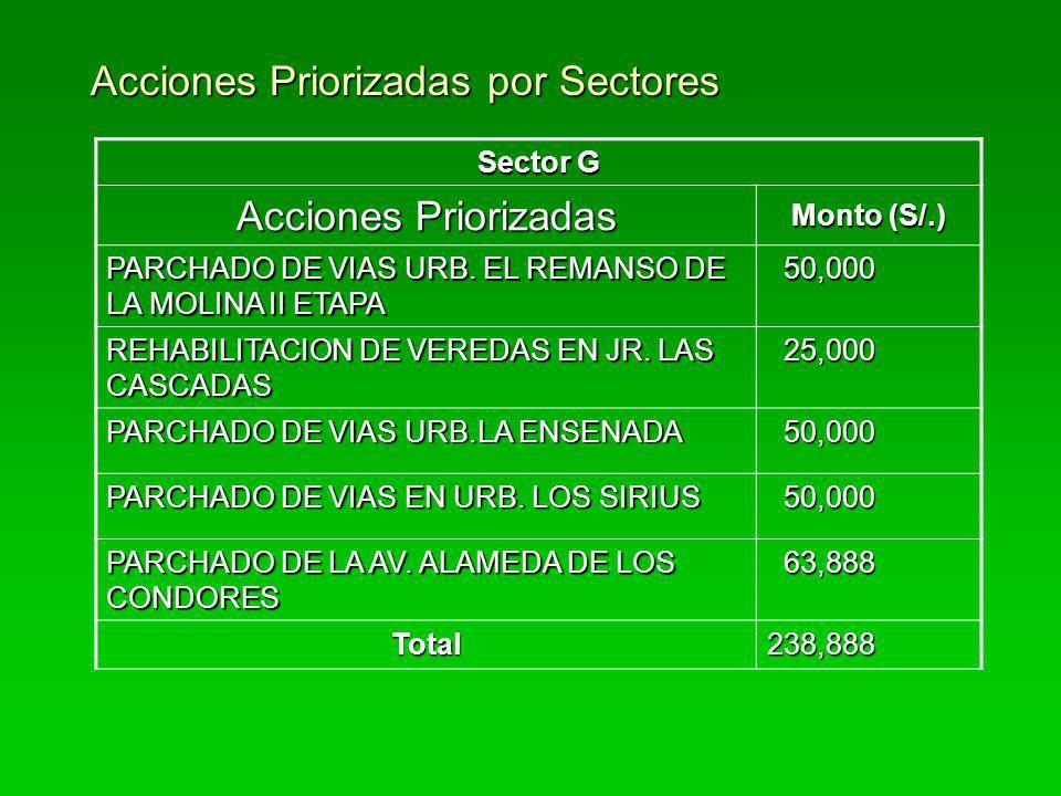 Acciones Priorizadas por Sectores Sector G Acciones Priorizadas Monto (S/.) PARCHADO DE VIAS URB. EL REMANSO DE LA MOLINA II ETAPA 50,000 50,000 REHAB