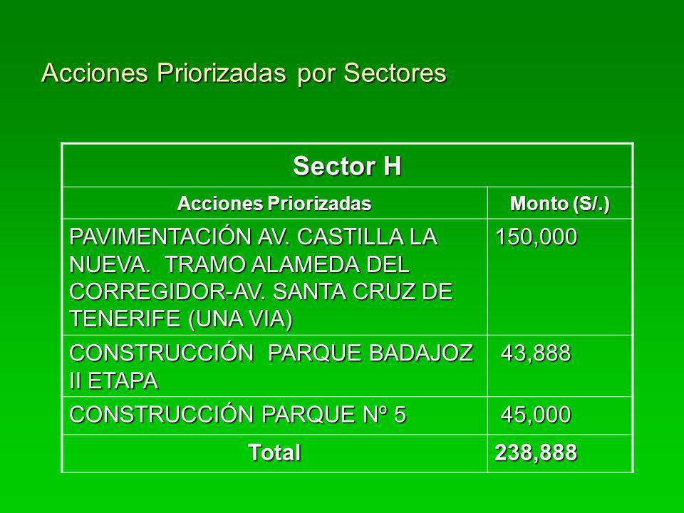 Acciones Priorizadas por Sectores Sector H Acciones Priorizadas Monto (S/.) PAVIMENTACIÓN AV. CASTILLA LA NUEVA. TRAMO ALAMEDA DEL CORREGIDOR-AV. SANT