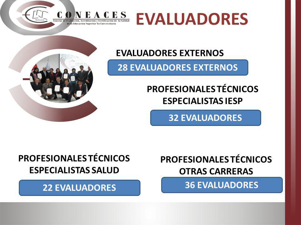 28 EVALUADORES EXTERNOS EVALUADORES EXTERNOS 32 EVALUADORES PROFESIONALES TÉCNICOS ESPECIALISTAS IESP 22 EVALUADORES PROFESIONALES TÉCNICOS ESPECIALIS
