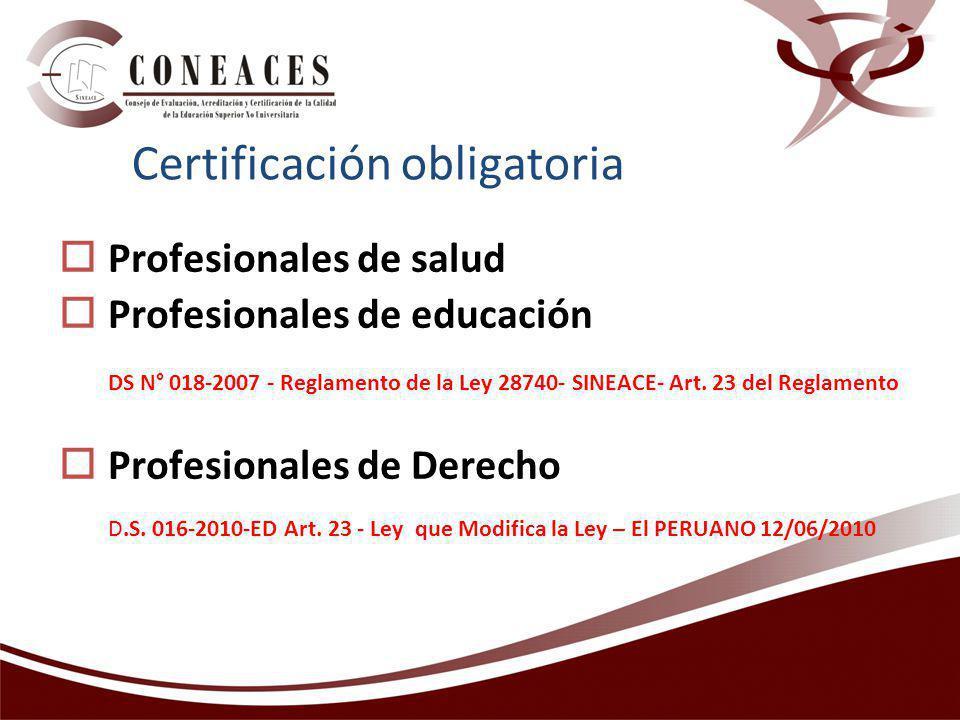 Profesionales de salud Profesionales de educación DS N° 018-2007 - Reglamento de la Ley 28740- SINEACE- Art. 23 del Reglamento Profesionales de Derech