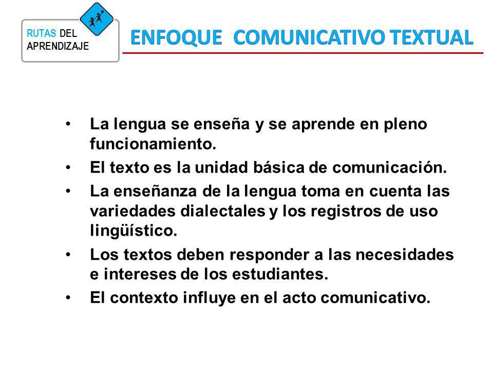 RUTAS DEL APRENDIZAJE La lengua se enseña y se aprende en pleno funcionamiento. El texto es la unidad básica de comunicación. La enseñanza de la lengu