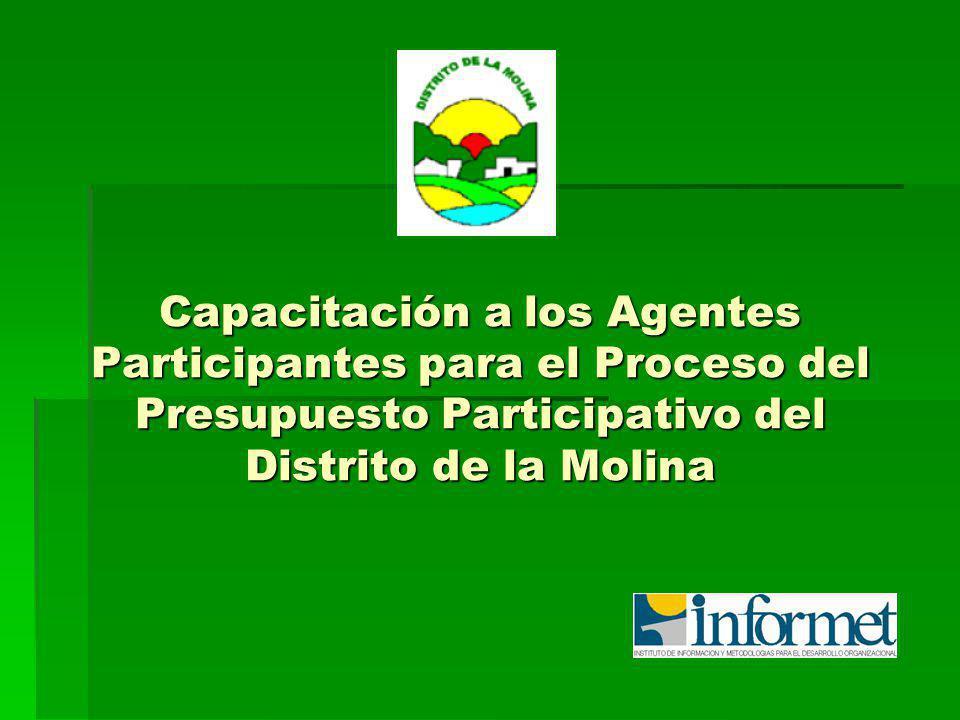 Plan de Desarrollo Concertado (PDC) del Distrito de La Molina Es un instrumento de base territorial y de carácter integral, orientador del desarrollo regional o local y del proceso del presupuesto participativo.