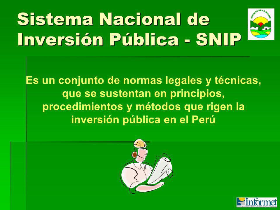Sistema Nacional de Inversión Pública - SNIP Es un conjunto de normas legales y técnicas, que se sustentan en principios, procedimientos y métodos que rigen la inversión pública en el Perú