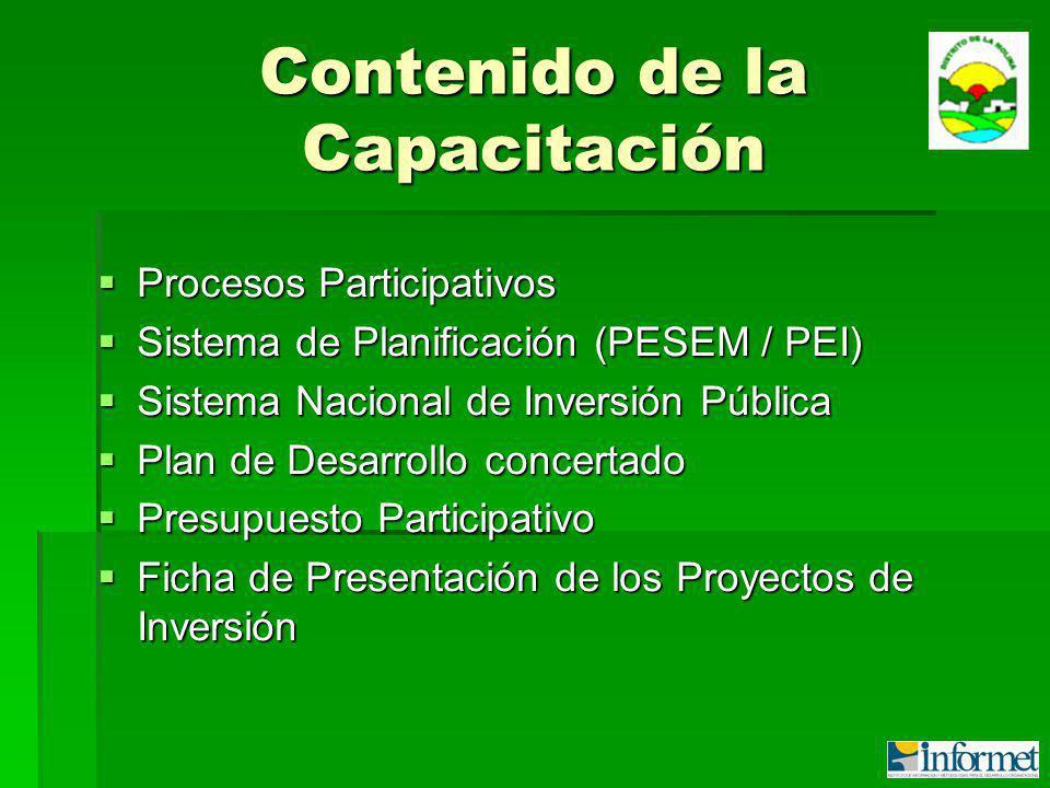 Contenido de la Capacitación Procesos Participativos Procesos Participativos Sistema de Planificación (PESEM / PEI) Sistema de Planificación (PESEM / PEI) Sistema Nacional de Inversión Pública Sistema Nacional de Inversión Pública Plan de Desarrollo concertado Plan de Desarrollo concertado Presupuesto Participativo Presupuesto Participativo Ficha de Presentación de los Proyectos de Inversión Ficha de Presentación de los Proyectos de Inversión