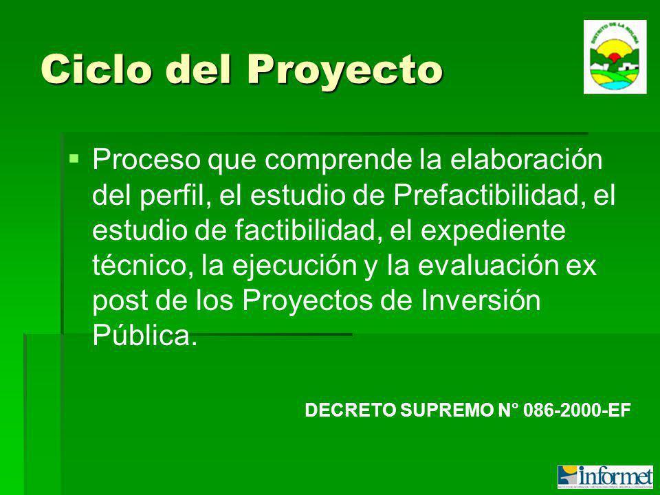 Ciclo del Proyecto Proceso que comprende la elaboración del perfil, el estudio de Prefactibilidad, el estudio de factibilidad, el expediente técnico, la ejecución y la evaluación ex post de los Proyectos de Inversión Pública.