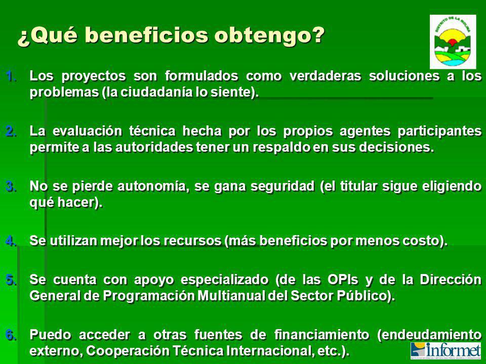 1.Los proyectos son formulados como verdaderas soluciones a los problemas (la ciudadanía lo siente).