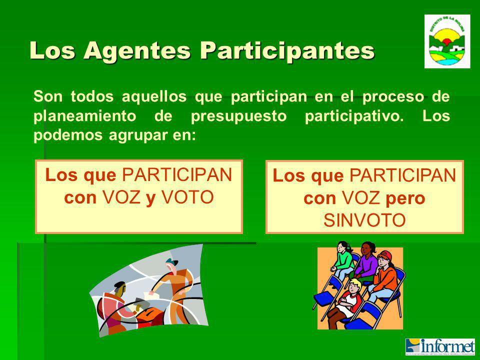 Los Agentes Participantes Los que PARTICIPAN con VOZ y VOTO Son todos aquellos que participan en el proceso de planeamiento de presupuesto participativo.