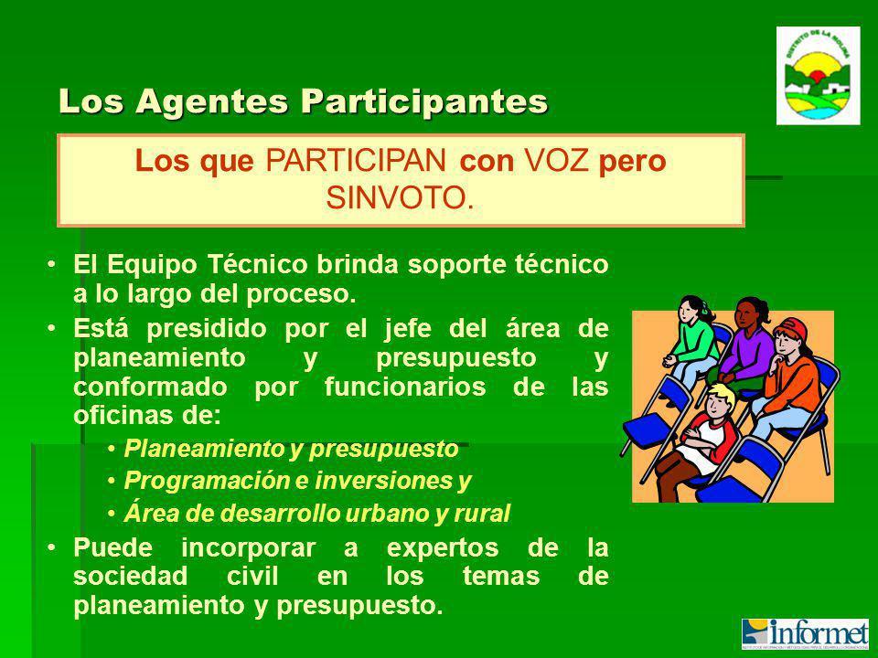 Los Agentes Participantes Los que PARTICIPAN con VOZ pero SINVOTO.
